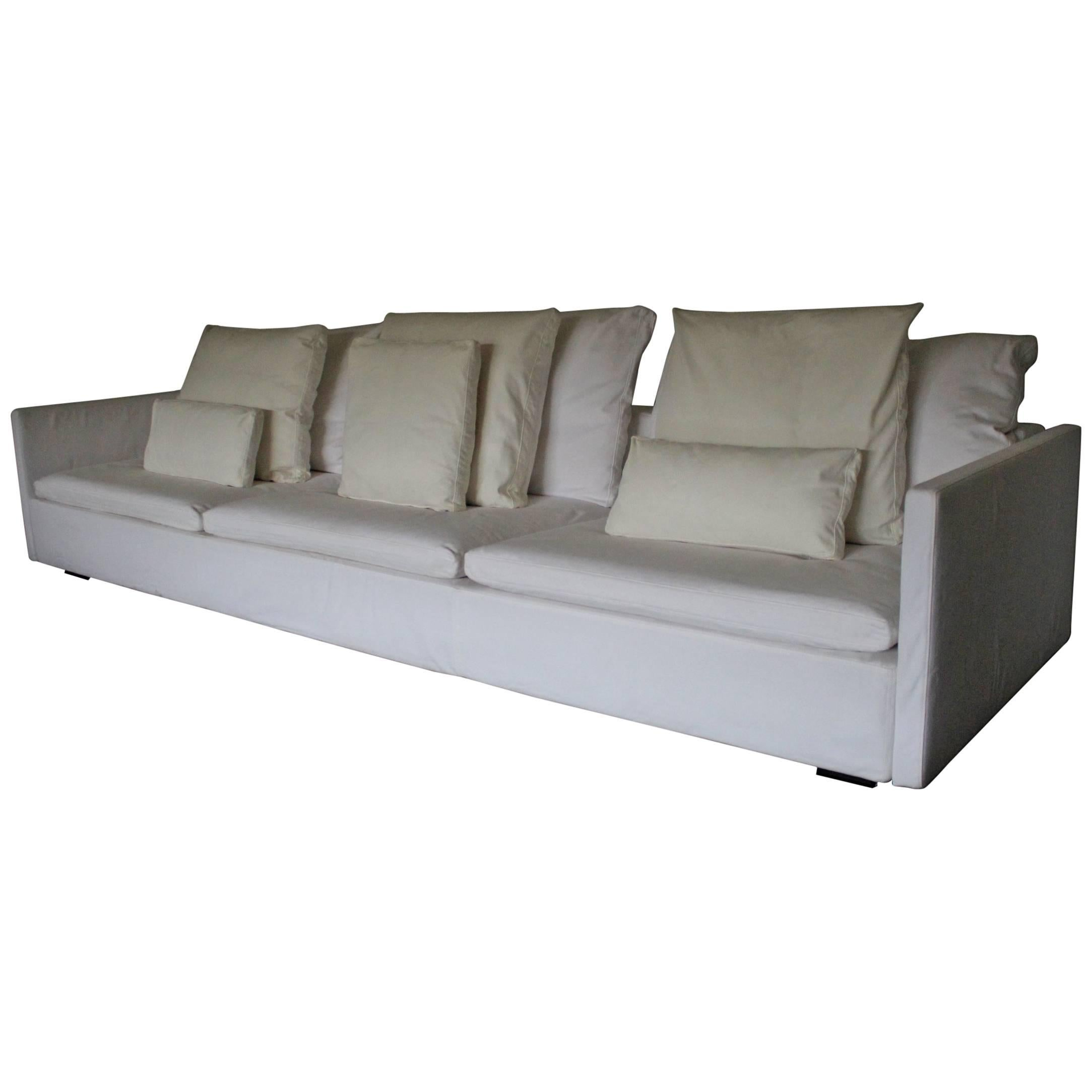 Flexform U201cResortu201d Large Three Seat Sofa In White Woven Linen Fabric