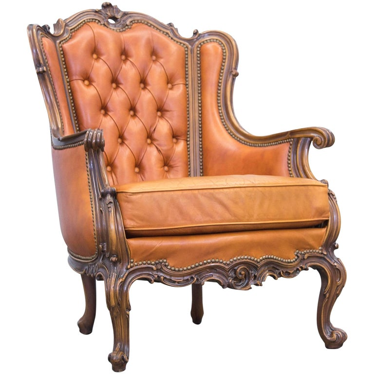 Bistro Cognac Brown Chair: Chesterfield Baroque Leather Armchair Cognac Brown Three