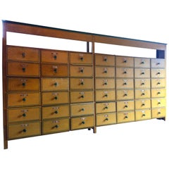 Early 20th Century Shop Haberdashery Yellow Forty Two-Drawer Solid Pine Cabinet