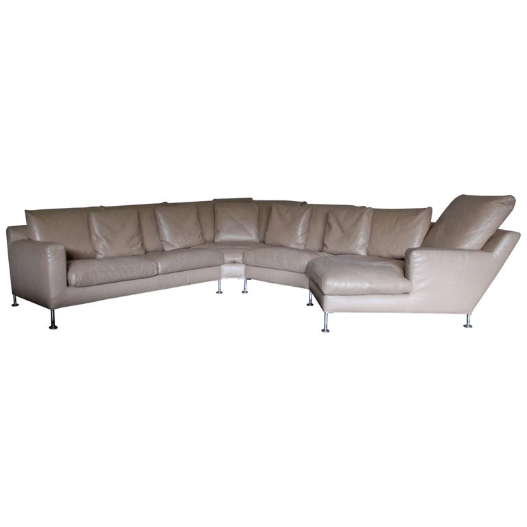 "B&B Italia ""Harry"" Six-Seat L-Shape Sofa & Ottoman in Pale-Brown ""Gamma"" Leather For Sale"