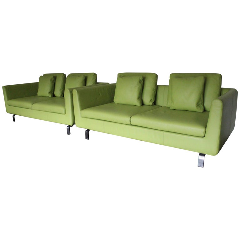 """Pair of Walter Knoll 2.5-Seat Sofa in Pristine Lime-Green """"Pelle"""" Leather"""