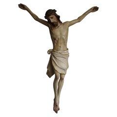 Suffering Christ Sculpture Antique & Originally Hand-Painted Corpus 1890-1910