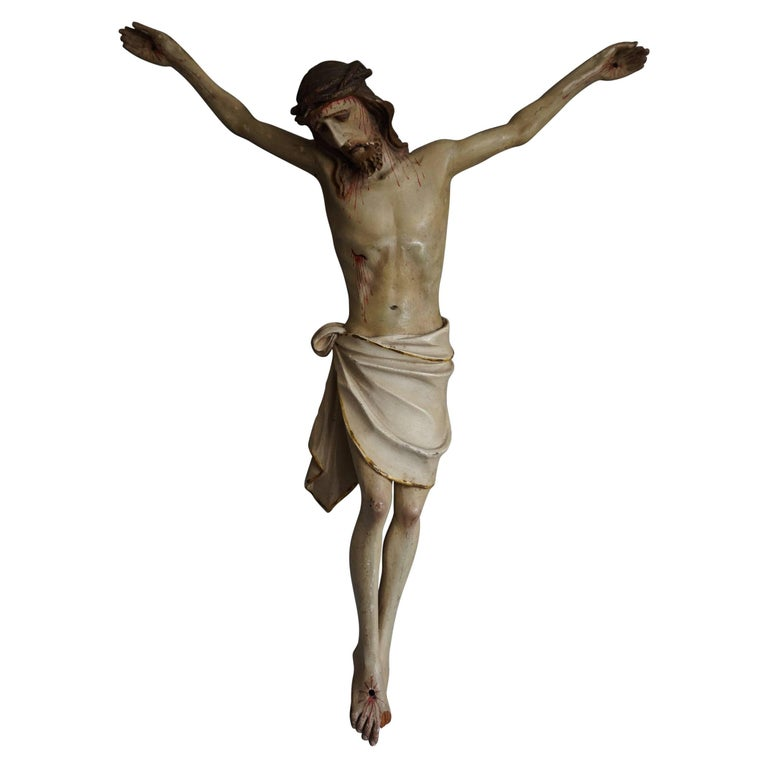 Suffering Christ Sculpture Antique & Originally Hand-Painted Corpus 1890-1910