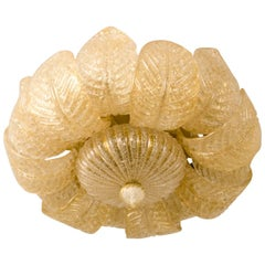Barovier e Toso Flush Mount Murano Glass with Gold Inclusions, 1960