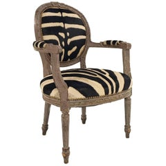 Vintage Louis XVI Armchair Reupholstered in Zebra Hide