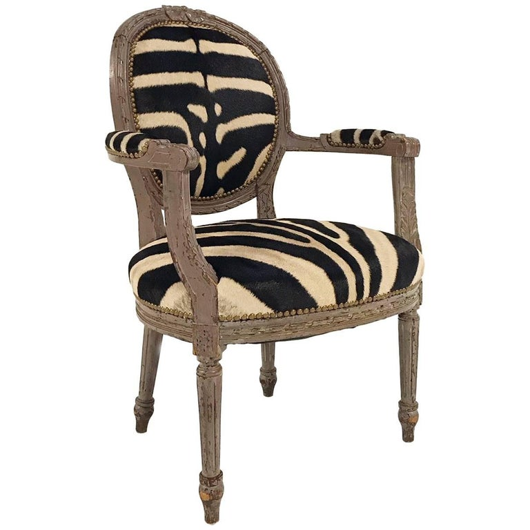 zebra arm chair. Vintage Louis XVI Armchair Reupholstered In Zebra Hide For Sale Arm Chair