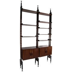 Large Adjustable Rosewood and Leather Bookcase, Italy, 1950