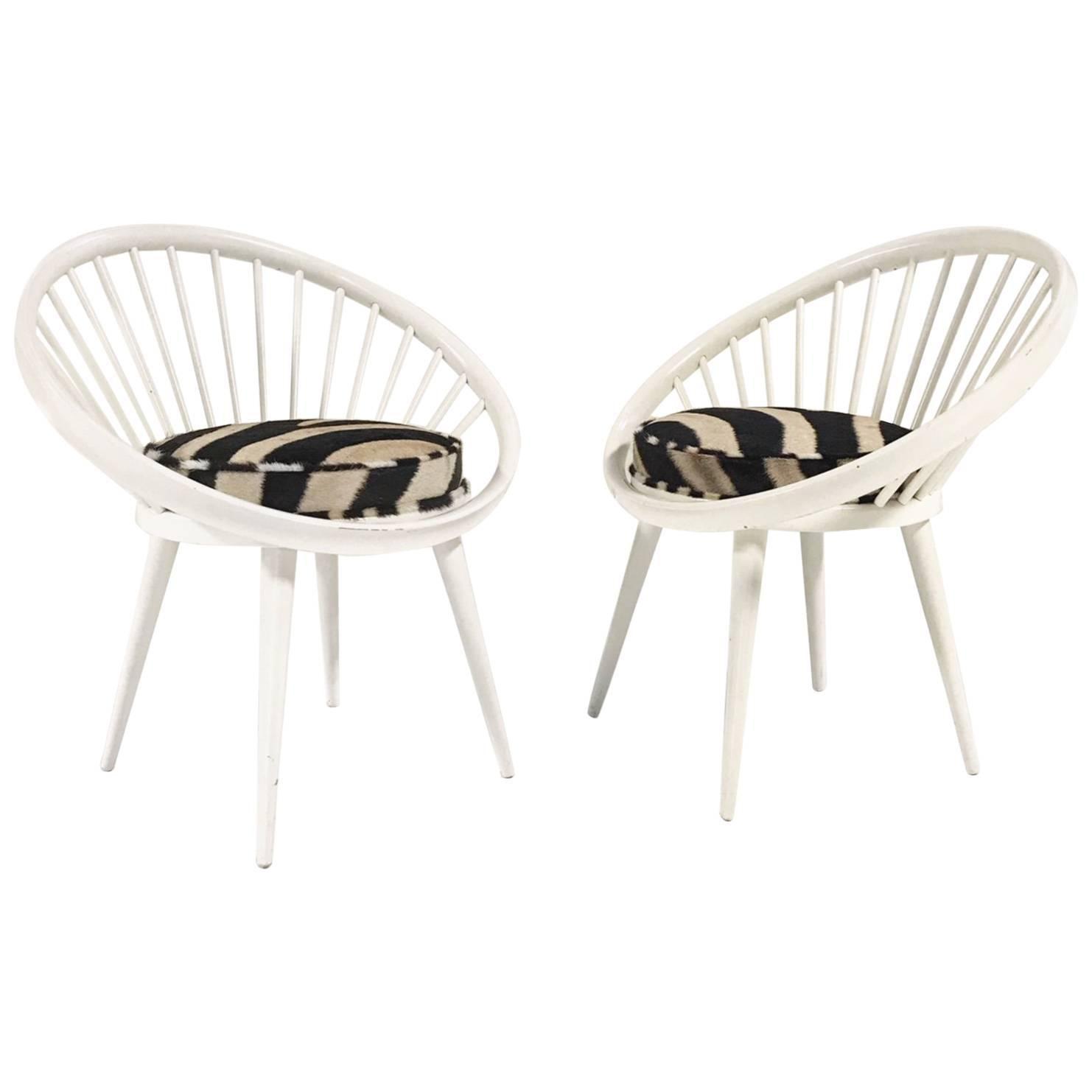 Vintage Pair of Yngve Ekstrom Circle Chairs Reupholstered in Zebra Hide