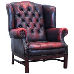 Chesterfield Armchair Leather Red Brown Three-Seat Couch Retro Vintage