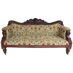 19th Century Victorian Mahogany Carved Sofa of Large Proportions