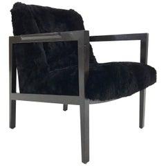 Vintage Edward Wormley for Dunbar Model 406 Lounge Chair in Brazilian Sheepskin