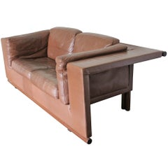 "De Sede ""Floating"" Three-Seat Sofa in Mid-Brown Leather"