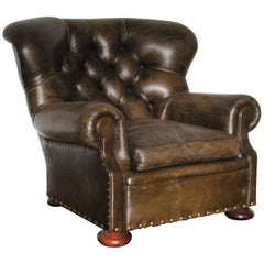 "Ralph Lauren ""Writers"" Armchair in Vintage Green Leather"