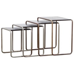 1920s Black Stained Wood, Chromium-Plated Steel Nesting Tables by Marcel Breuer