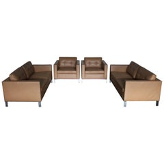 """Walter Knoll """"Foster 502"""" Two-Sofa and Two-Armchair Suite in Pale Brown Leather"""