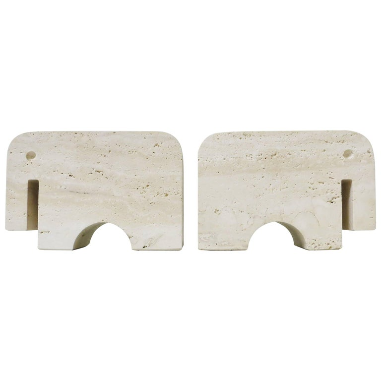 Pair of Bookends Elephant in Travertine by Fratelli Mannelli, 1970 For Sale