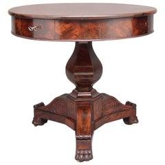 19th Century French Mahogany Drum Table