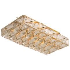Crystal Glass and Brass Flush Mount Light, Kalmar Modernist Design, 1960s