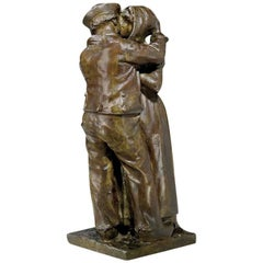 "Raymond Sudre, ""Le Baiser Zélandais"", a Patinated Bronze Sculpture, Signed"