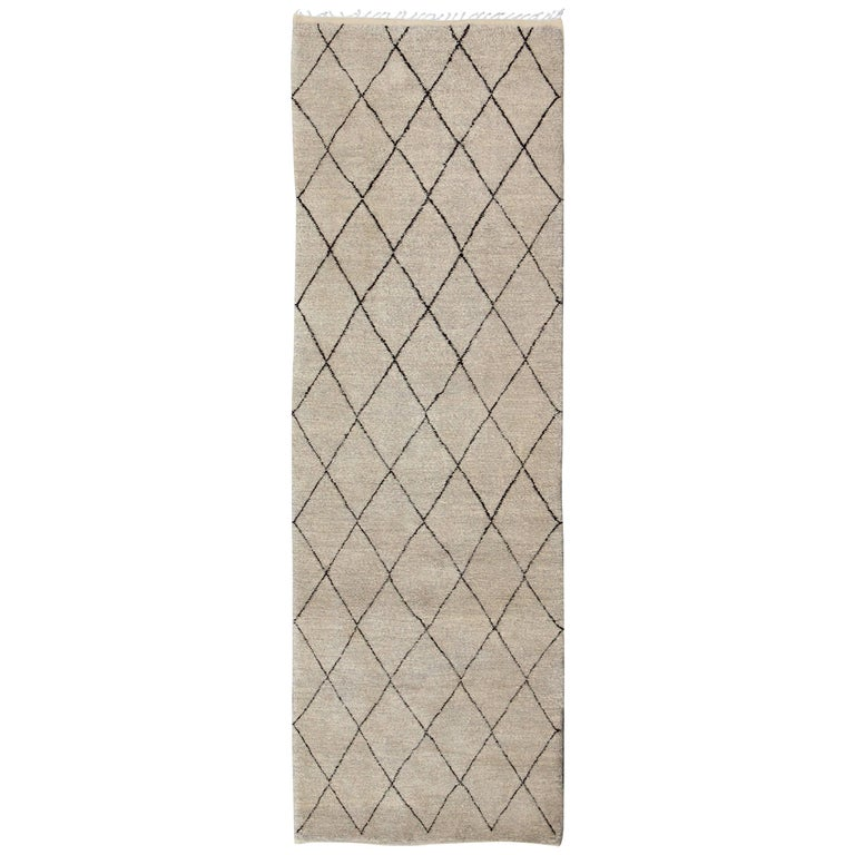 Long Contemporary Moroccan Runner with Brown and Ivory Diamond Pattern