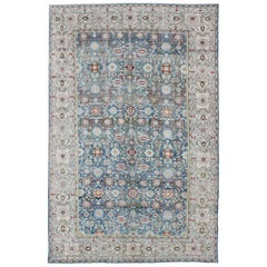 Large Antique Blue Background Persian Malayer Rug with All-Over Floral Pattern