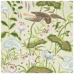 Schumacher Lotus Garden Japanese Natural Motif Parchment Wallpaper, Two Roll Set
