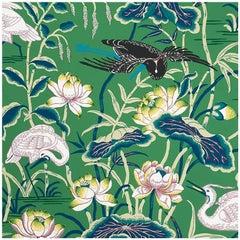 Schumacher Lotus Garden Japanese Natural Motif Jade Wallpaper Two Roll Set