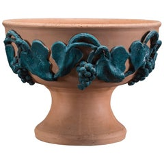 Vintage Italian Terra Cotta Bowl with Green Grape Vines by Solimene, Vietri
