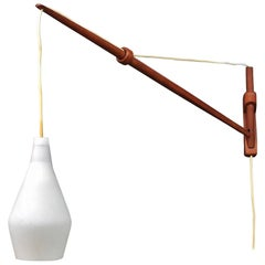 1960s Rare Finnish Teak Fishing Rod Arc Wall Sconce Lamp by Lisa Johansson-Pape