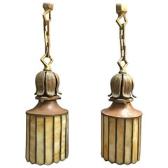 Arts and crafts chandeliers and pendants 136 for sale at 1stdibs pair of exceptional arts amp crafts stain glass brass pendant lights mozeypictures Image collections