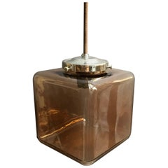 Mid-Century Modern Smoked Glass Cube Pendant Light