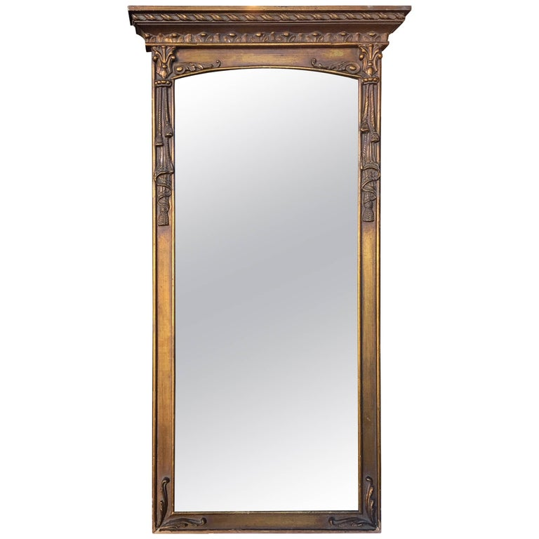 Neoclassical Style Gilt Draped Tassel Form Pier Wall Mirror