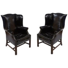 Pair of Late 19th Century Wingback Library Armchairs