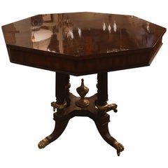 Flame Mahogany Parcel-Gilt Center Table