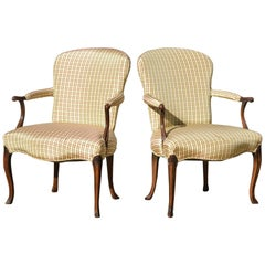 Georgian Library Chairs of Fruitwood, Pair
