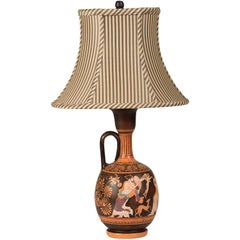 Vintage Greek Hand-Painted Earthenware Amphora Lamp, circa 1950, Custom Shade