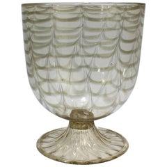 Large Salviati Attributed Venetian Glass Fenicio Copper Aventurine Footed Vase