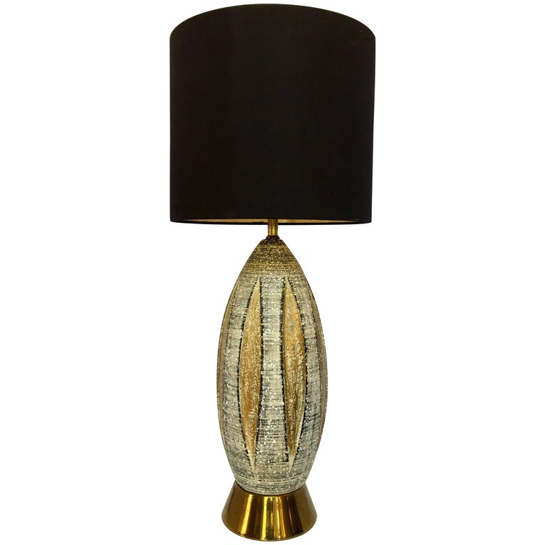 Mid-Century Modern Bitossi Style Ceramic and Brass Table Lamp, Italy