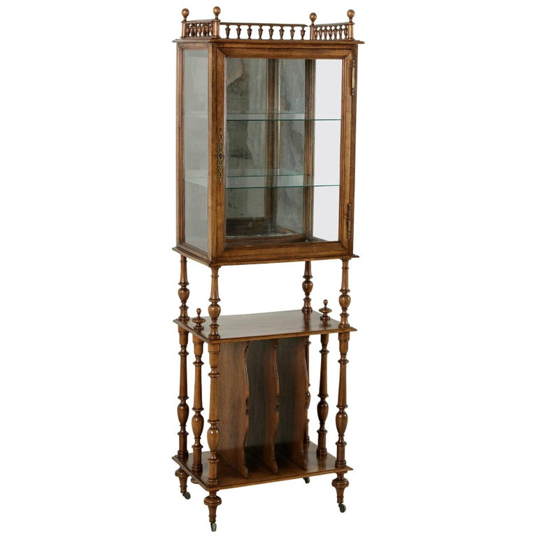 Late 19th Century French Hand-Carved Walnut Music Cabinet or Display Vitrine