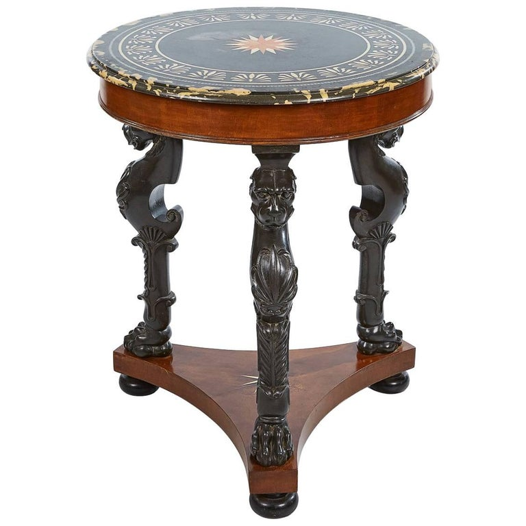 19th Century Regency Marble-Topped Circular Centre Table
