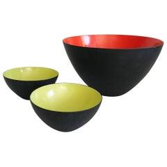 1954 Krenit by Herbert Krenchel Danish Enamel Colored Bowl Set
