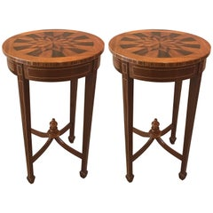 Diminutive Pair of Inlaid Side Tables