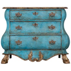 Dutch Painted and Gilded Oak Bombé Commode Chest of Drawers, Holland, circa 1850