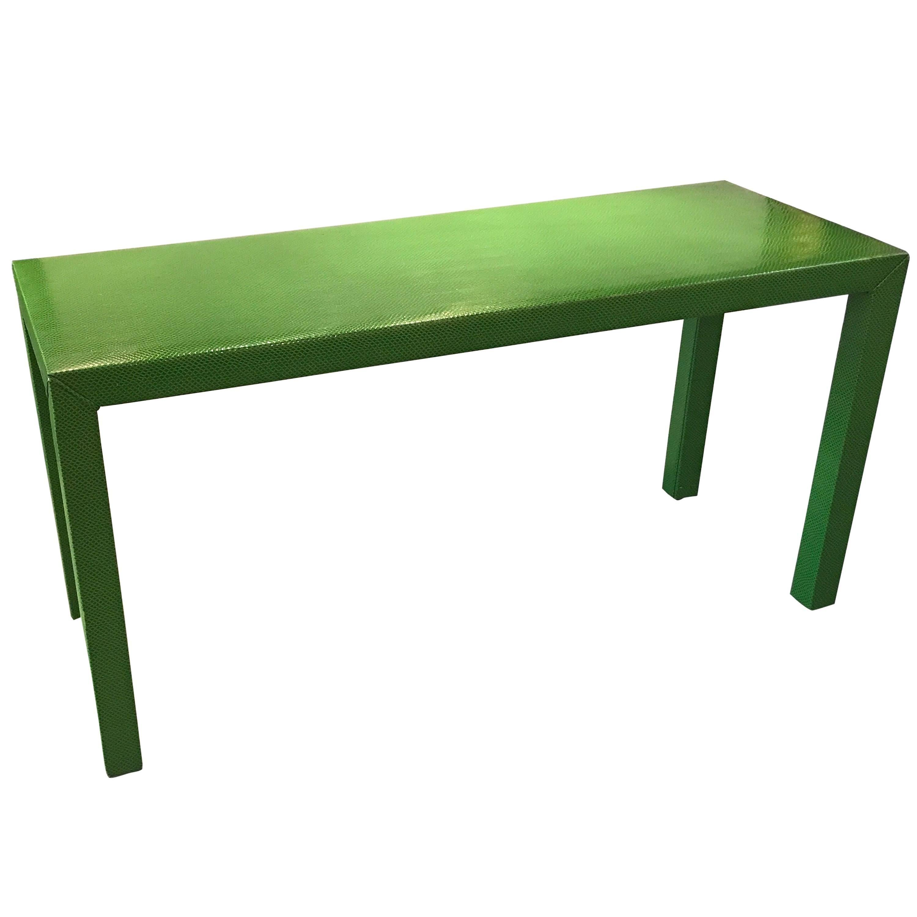 Attractive Faux Snakeskin Lime Green Console Table For Sale