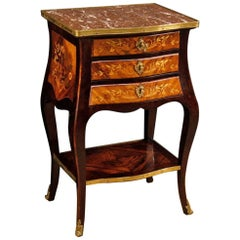 20th Century French Inlaid Nightstand with Marble Top
