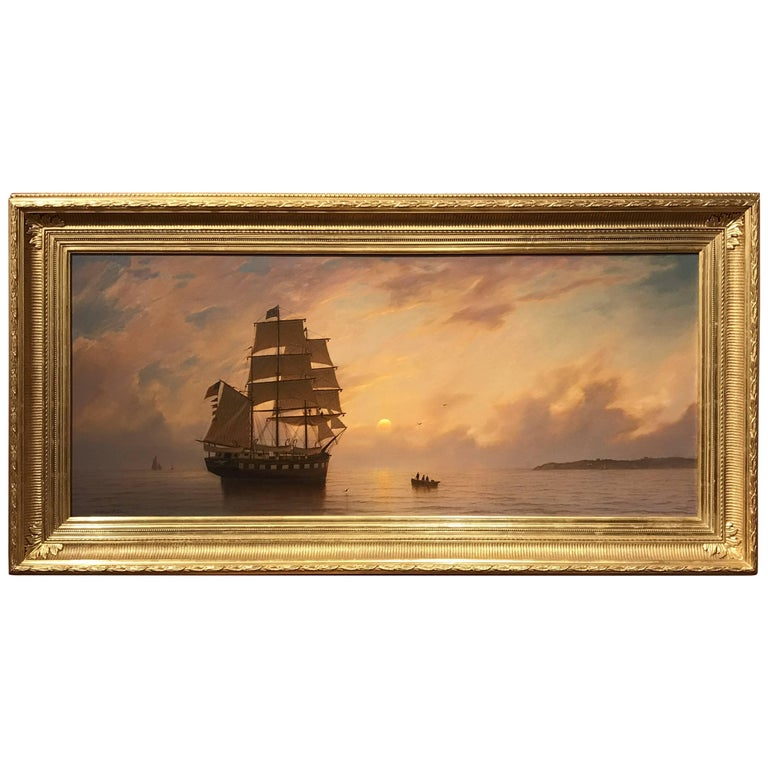 William R. Davis Exceptional Luminist Marine Oil Painting, Sunset Rendezvous
