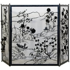 Art Deco Asian Black Painted Steel and Brass Fireplace Screen 1940s Floral