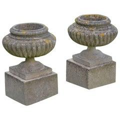 English Stone Urns on Bases