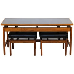 Mid-Century Modern Danish Console Table & Pair of Black Leather Benches Ottomans