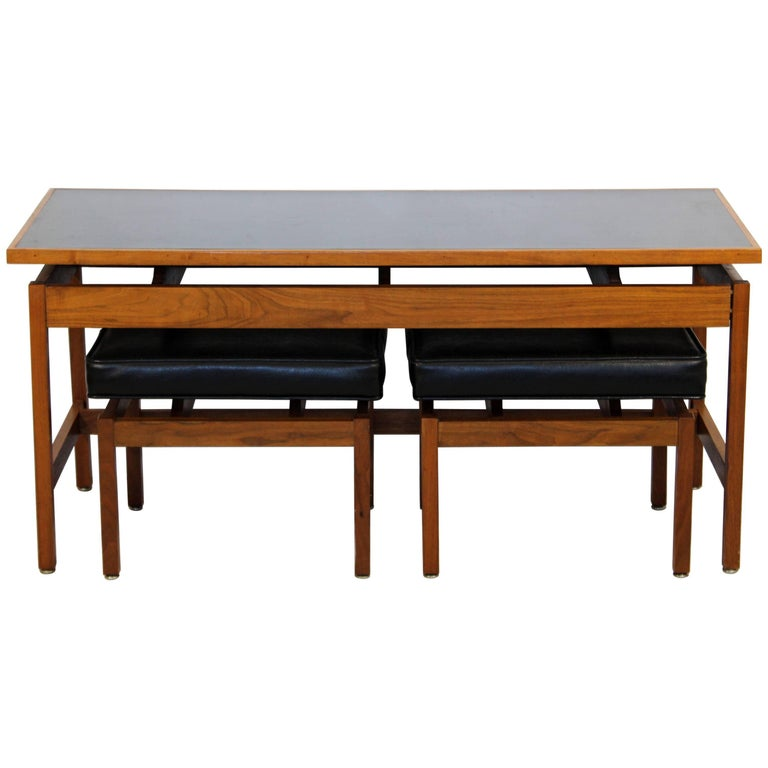 Mid Century Modern Danish Console Table And Pair Of Black